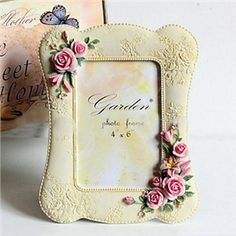 """6"""" Country Pink Engraving Rose Polyresin Picture Frame - See more at: http://homelava.com/en-6-quot-country-pink-engraving-rose-polyresin-picture-frame-p2890.htm#sthash.N4bTyv1b.dpuf"""