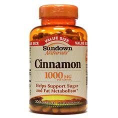 Sundown Naturals Cinnamon 1000 mg 200 Capsules. Sundown Naturals Cinnamon 1000 mg 200 Capsules