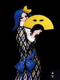 A Commedia dell'Arte-influenced illustration by Rene Gruau. #Harlequin