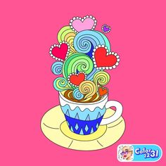 Coffee Cups, Coloring Pages, Enamel, Pictures, Painting, Accessories, Art, Colorful, Number