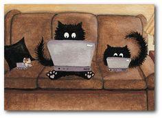 Laptop Lap Cats by AmyLyn Bihrle