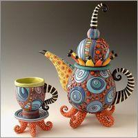 Natalya Sots tea pots. (polymer clay)