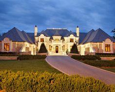Sensational Luxury Home Exterior Inspiration: Beautiful Exterior Facade View Green Lawn Monaco Inspired Manor ~ SQUAR ESTATE Exterior Inspiration Luxury Homes Exterior, Exterior Design, French Style Homes, Elegant Homes, Luxurious Homes, My Dream Home, Dream Homes, Dream Mansion, Beautiful Homes