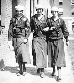 Women yeomen at a Boston shipyard during the World War I era.
