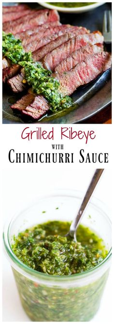 Melt-in-your-mouth tender ribeye steaks grilled to juicy perfection and paired with vibrant and aromatic chimichurri sauce! Simply perfect combination, and it takes only minutes to get dinner on the table.