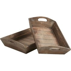 Perfect filled with faux fruits and pumpkin decor on your sideboard or console table, this tray set features a weathered brown finish for vintaged appeal.