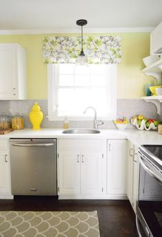 Easy Window Treatment: How To Make A Fake Roman Shade. Bright Kitchen ColorsYellow  ...