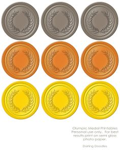 Printable medals for music olympics