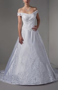 White Elegant Outdoor Off-the-Shoulder Sleeveless Lace up Satin Court Train Bridal Gowns - iFitDress.com