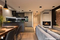 Narrow Living Room Layout with Fireplace and Tv New Dom Ruda AÅ¡la…ska Salon Zdja™cie Od Www Archigrafia Living Room Living Room Interior, Home Living Room, Living Room Designs, Narrow Living Room, Salon Interior Design, Living Room With Fireplace, Interior Architecture, New Homes, House Design