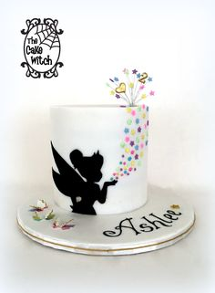 Tinkerbell Silhouette and Butterflies Cake