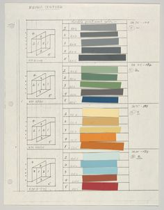 Josef Albers, Color sheets and layout of the Never Before series, 1976. Metropolitan Museum.