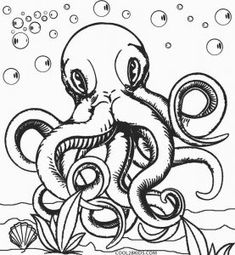 realistic octopus coloring page - Octopus Coloring Pages