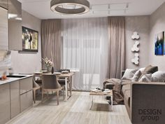 Open Plan Kitchen Living Room, Kitchen Room Design, Home Room Design, Modern Kitchen Design, Interior Design Kitchen, Home Living Room, Small Apartment Interior, Small Apartment Design, Apartment Layout
