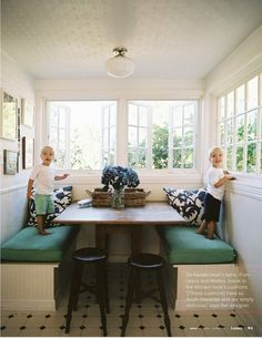 Love the dining nook + casement windows