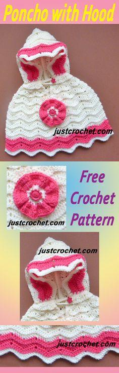 Free baby crochet pattern for hooded poncho. #crochet