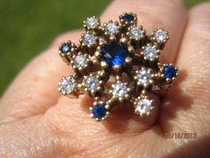 Blue Sapphire Ring Vintage Style Sterling Silver .925 size 8 1/2 #Unbranded #VintageCluster