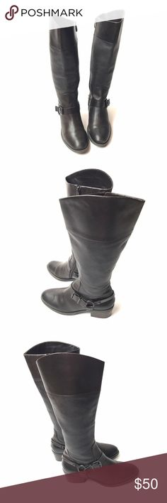 Vince Camuto Brunah Brown Leather Riding Boots 8 Vince Camuto 'Brunah' Leather Riding Boots in Dark Brown. Knee High With 2in Heel & Fabric Lining.  Size 8  Condition: Excellent pre-owned condition. Vince Camuto Shoes Heeled Boots