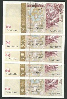 #Portugal 1997: Five 500 #Escudos #Banknotes http://www.kollectbox.com/explore#/item/profile/56ae4e9abf25d2fd0e5c79f6 #marketplace for #banknote #collectors #papermoney #buybanknotes #banknotesforsale #sellbanknotes #papermoneyforsale #sellpapermoney #buypapermoney