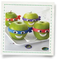 Teenage Mutant Ninja Turtle Apple Faces   Ordinarily we wouldn't dare try to pass off a non-candy apple as a Halloween treat, but these Teenage Mutant Ninja Turtle apple faces   are too funny to pass up!