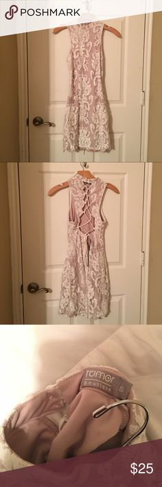 Worn once Stunning body con white and nude dress , mock neck with lace down back detailing LF Dresses Mini