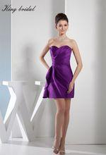 2017 elegante Lila Satin Falten Mantel Spalte Kurze Brautkleider Weiche Schatz Mini Homecoming Kleid Cocktail Party Kleider //Price: $US $100.98 & FREE Shipping //     #clknetwork