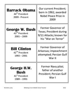 FREE:  Presidents' Day  Set of 32 cards ~ Match President with facts about them!