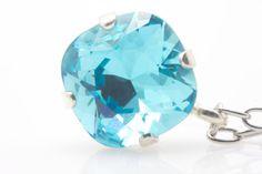 Large 12mm Swarovski aquamarine pendant on 16 by wcubeddesigns, $65.00
