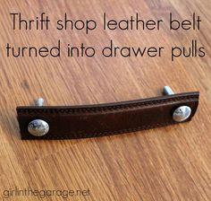 Turn a thrift shop leather belt into furniture drawer pulls! girlinthegarage.net