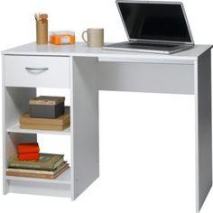 Desk or Dressing Table White 1 Drawer 2 Shelves Computer Work ...