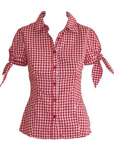 Ladakh Size 8 Aus BNWT Red White Check Puff Sleeve Top Blouse Rockabilly Shirt