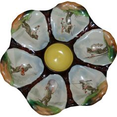 """Antique """"Fishing Elves"""" Oyster Plate which dates to the second half of the nineteenth century. Hand Painted."""