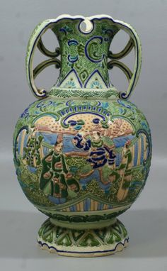 Japanese Satsuma vase with green and blue moriage decoration c.1900