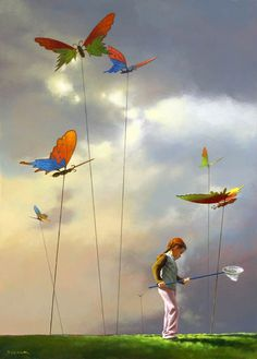 Butterfly catcher by Jimmy Lawlor - PRINT - The Keeling Gallery Double Exposition, Hyper Realistic Paintings, Unique Paintings, Acrylic Paintings, Painting Art, Surreal Photos, Surreal Art, Jimmy Lawlor, Jace
