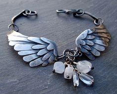 silver wings bracelet black bird singing in door ArtigianoJewelBox, $193.00
