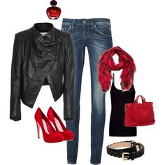 Black, Red and jeans, created by rifin
