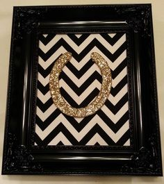 Framed Lucky Glittered Horseshoe by LuckyPonyShop on Etsy, $69.00 - I can totally do these myself!