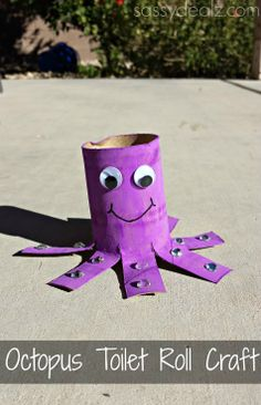 Octopus Toilet Paper Roll Craft For Kids #Recycled toilet paper tube art project #Ocean theme #Purple painted octopus | http://www.sassydealz.com/2014/01/octopus-toilet-paper-roll-craft-for-kids.html