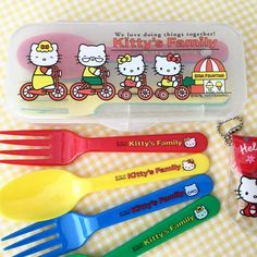 "58 Likes, 4 Comments - Lindy Mojica (Puerto Rico) (@linlan_kitty_land) on Instagram: ""Kitty's Family plastic spoon & folks in plastic case (2001) Picnic time. ❤️💛"""