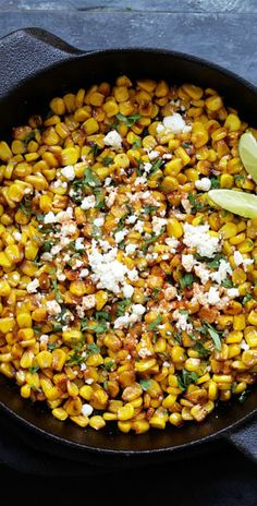 Skillet Chili Lime Corn - the best corn with chili, honey, lime and cheese. Takes 15 mins to make and a perfect side dish for any meals | rasamalaysia.com Corn Recipes, Side Dish Recipes, Vegetable Recipes, Mexican Food Recipes, Dinner Recipes, Easy Delicious Recipes, Yummy Food, Healthy Recipes, Gourmet