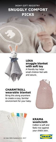 Add snuggly comfort to your nursery with items from the IKEA Baby Gift Registry! A comfy baby is a happy baby. Find our top picks for making sure baby sleeps through the night, like wearable blankets and soft toys.