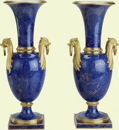 """*1781 French Sèvres Vases in the Royal Collection, UK - From the curators' comments: """"The realistic rendering of lapis lazuli as a ground colour enjoyed a brief period of popularity at the Sèvres manufactory from c.1778 to c.1785. This pair of vases, decorated with a skilfully applied pale lapis ground, simulates the veining, irregular areas of colour and striated gold lines of the true semi-precious stone."""""""