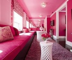 Pink couch, pink wall & ceiling.  Pink Party  Celebrate Bridal shower, Engagements, Baby shower, Birthdays etc... <3