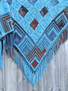 """Patches"" irnimite - blue jasper (knitted shawl, wrap, knitting lace, entrelac, modular shapes, grannie squares, knitting patchwork)"