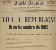 Jornal Diário Popular noticiando a Proclamação da República no Brasil.