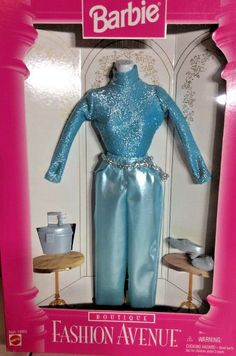 NRFB Barbie Fashion Avenue Boutique Theme Mattel 1996 Blue Shimmering Top Pants  #Mattel