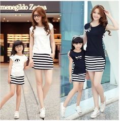 Family Fashion Summer Family Match Outfit Set Clothes for Mother and Daughter Stripe Sports Skirt Set Matching Mother Daughter Clothes Mother Daughter Matching Outfits, Matching Family Outfits, Vest Outfits, Kids Outfits, Family Clothing Sets, Fashion Vestidos, Family Picture Outfits, Sports Skirts, T Shirt And Shorts