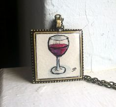 Red Wine Glass Necklace Original Watercolor Art by LaRueStudio