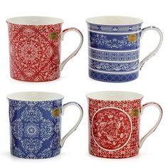 Leonardo Collection Set of 4 Fine China Coffee Indian Textile Floral Giftboxed Coffee Mug Sets, Mugs Set, Leonardo Collection, Indian Textiles, China Sets, Main Colors, Fine China, Floral Design, Tableware