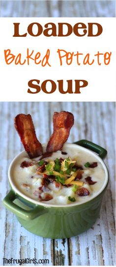 Loaded Baked Potato Soup Recipe! ~ from TheFrugalGirls.com ~ this easy recipe is SO delicious and perfect for a chilly day! #soups #recipes #thefrugalgirls